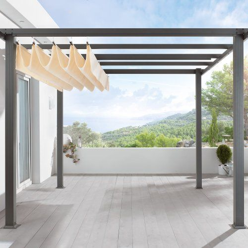 terrassen pavillon pergola aluminiumgestell polyester dach. Black Bedroom Furniture Sets. Home Design Ideas