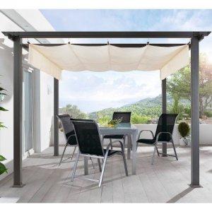 Terrassen-Pavillon-Pergola-Aluminiumgestell-Polyester-Dach-stufenlos-raffbar-290-x-290-x-220-cm-dunkelgrau-beige-0