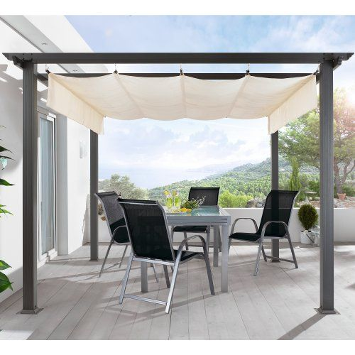terrassen pavillon pergola aluminiumgestell polyester dach stufenlos raffbar 290 x 290 x 220 cm. Black Bedroom Furniture Sets. Home Design Ideas